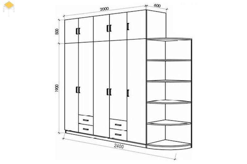 Kích thước trung bình của tủ quần áo gỗ công nghiệp 5 cánh
