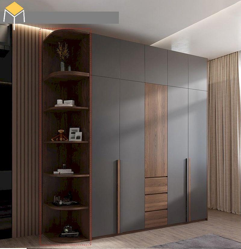 Thiết kế tủ quần áo gỗ công nghiệp 5 cánh cho phòng ngủ rộng