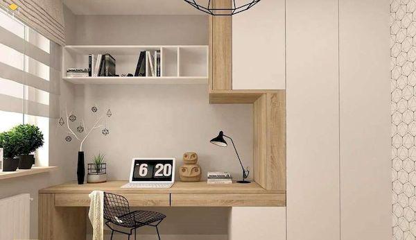 tủ quần áo kết hợp bàn học âm tường