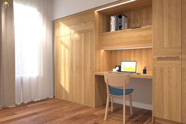 Tủ quần áo kết hợp bàn làm việc gỗ tự nhiên