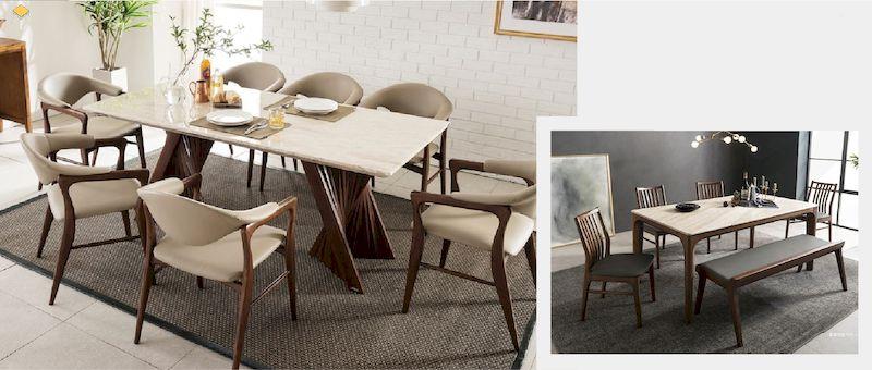 Xu hướng sử dụng bàn ăn gỗ óc chó mặt đá trên thị trường nội thất