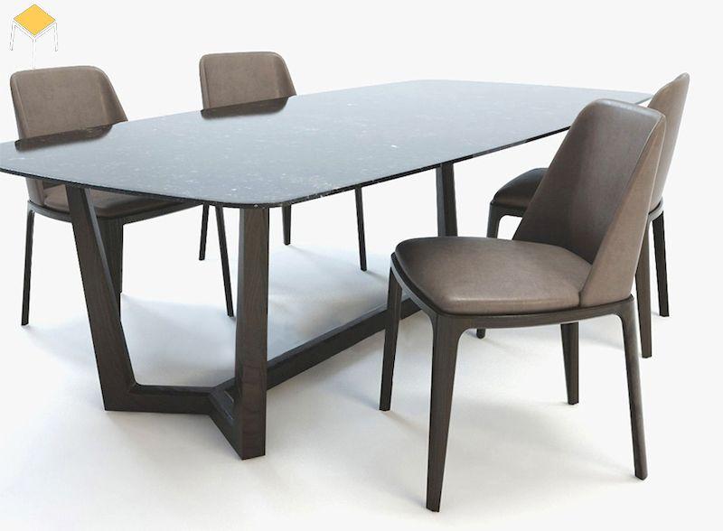 Bàn ăn gỗ óc chó mặt đá hình chữ nhật 4 ghế