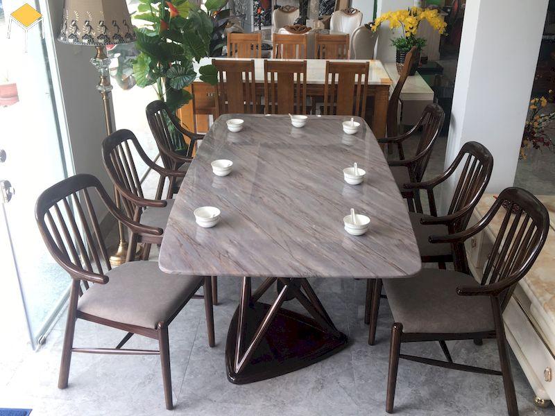Bàn ăn gỗ óc chó mặt đá hình chữ nhật 6 ghế