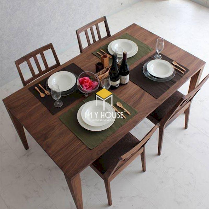 Bộ bàn ăn 4 ghế gỗ óc chó