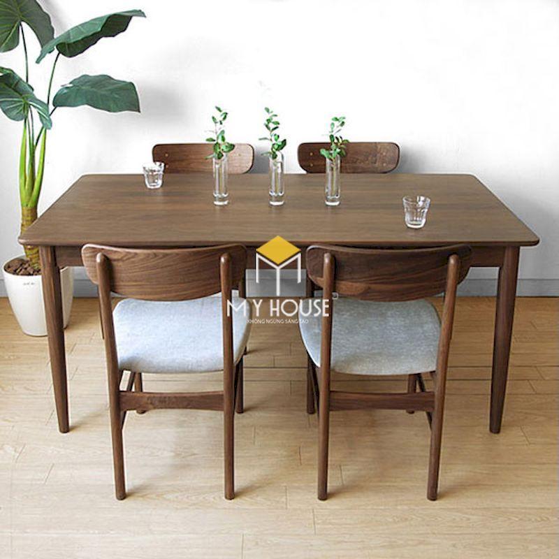 Bộ bàn ăn 4 ghế óc chó