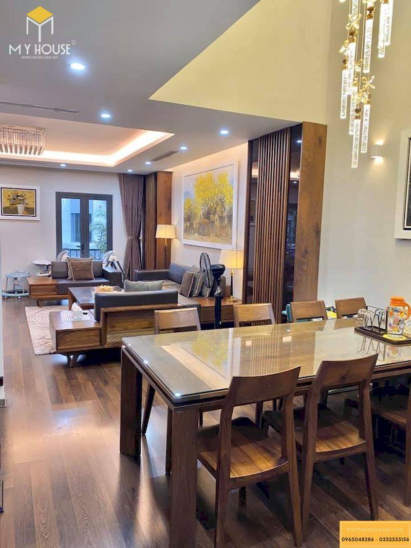 Hoàn thiện nội thất gỗ óc chó - bộ bàn ăn 6 ghế gỗ óc chó