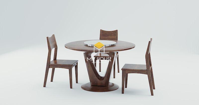 Bộ bàn ăn 6 ghế gỗ óc chó hình tròn