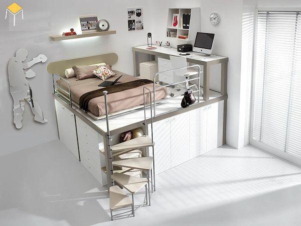 Mẫu giường tầng kết hợp tủ quần áo cho người lớn