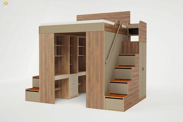 Mẫu giường tầng kết hợp tủ quần áo gỗ tự nhiên