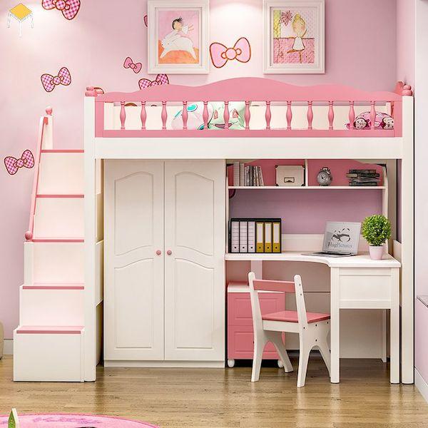 giường tầng đa năng tích hợp tủ quần áo, bàn học cho bé