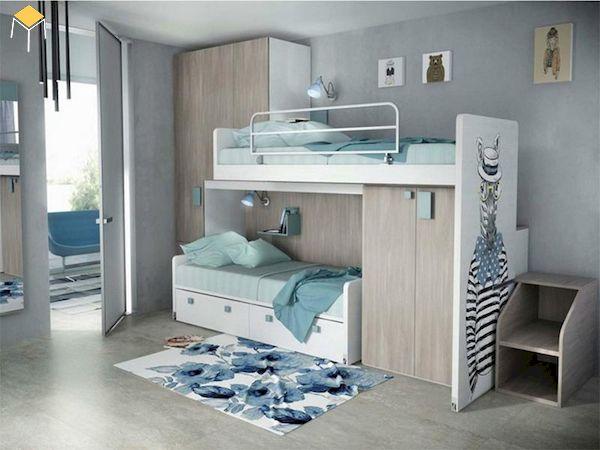 giường tầng gỗ công nghiệp cho 2 bé
