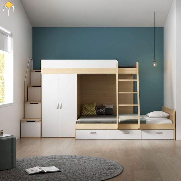 Điểm nhấn của thiết kế giường tầng kết hợp tủ quần áo thông minh