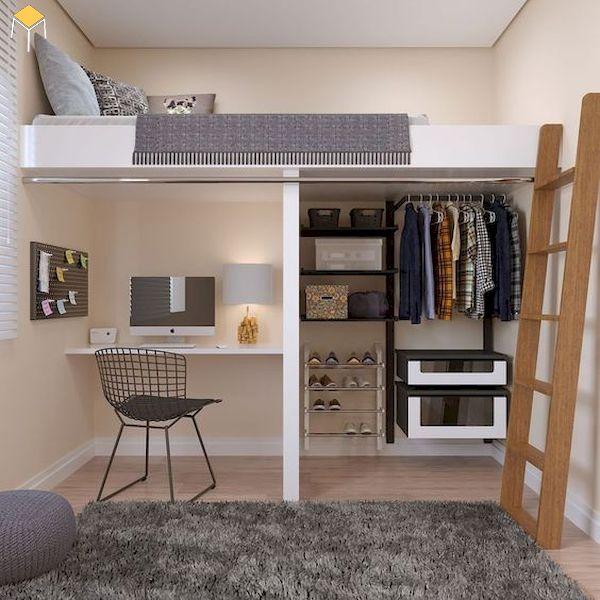 Mẫu giường tầng kết hợp tủ quần áo cho phòng ngủ nhỏ hẹp