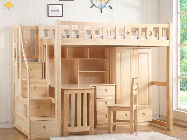 giường tầng tích hợp tủ quần áo gỗ tự nhiên