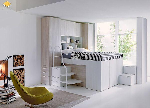 Chọn màu sáng cho giường tầng tích hợp tủ quần áo đa năng