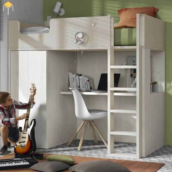 Mẫu giường tầng kết hợp tủ quần áo cho trẻ em