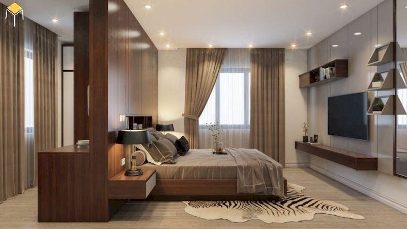 Phòng ngủ gỗ công nghiệp phủ veneer sang trọng tiết kiệm chi phí