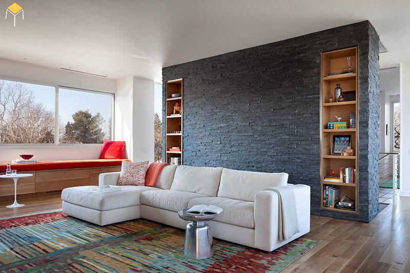 Kệ sách âm tường phòng khách