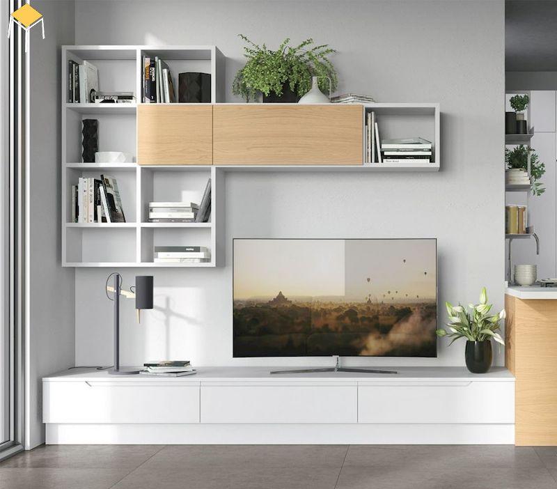 Kệ sách trang trí phòng khách kết hợp kệ tivi