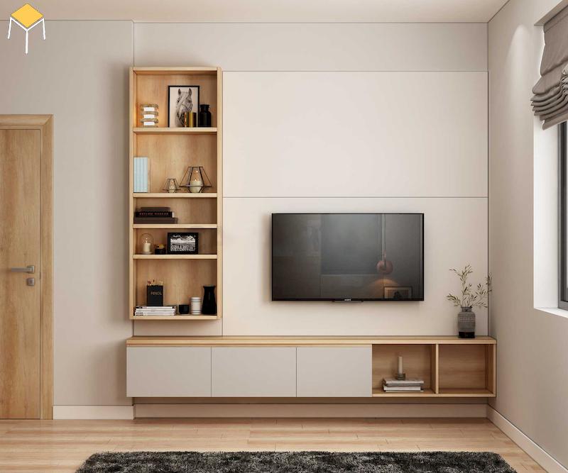 Chọn kích thước kệ tivi treo tường phòng ngủ