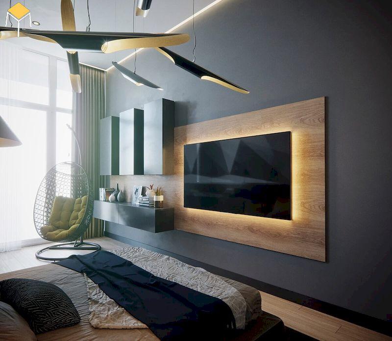 Mẫu kệ tivi treo tường phòng ngủ đẹp