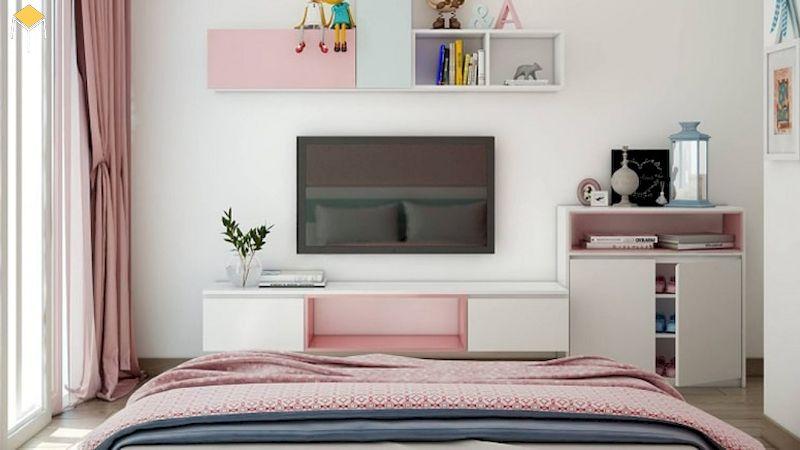Kệ tivi treo tường phòng ngủ - trang trí nội thất phòng ngủ