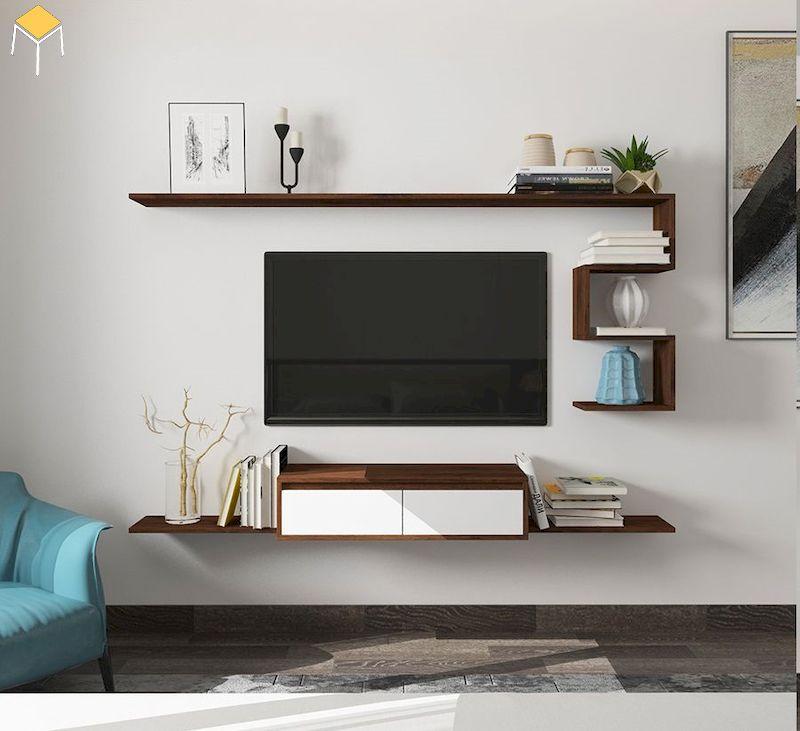 Kệ tivi treo tường phòng ngủ - trang trí phòng ngủ sang trọng