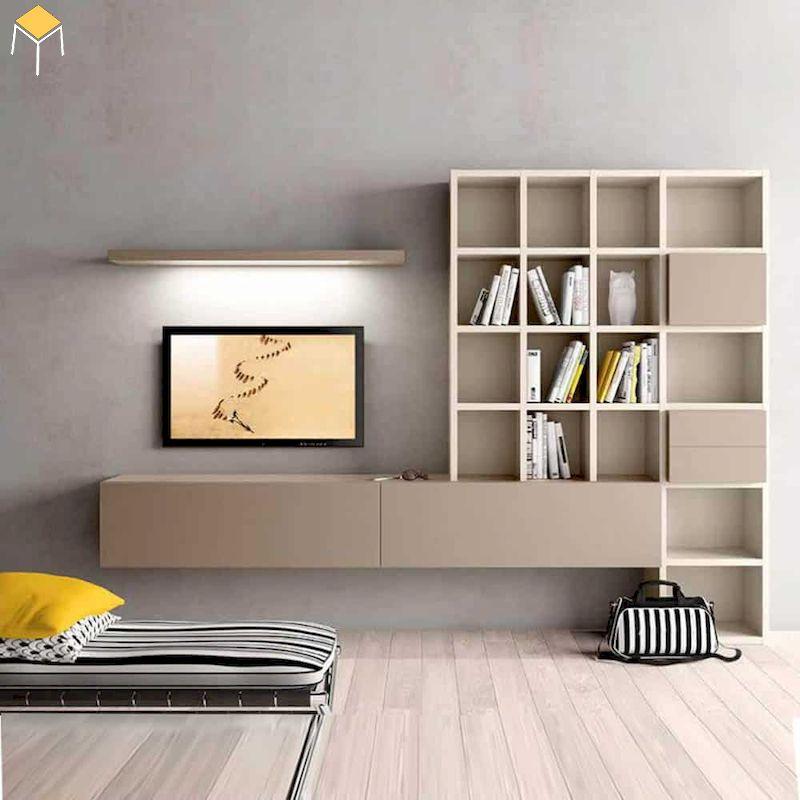 Kệ tivi kết hợp kệ trang trí gỗ công nghiệp