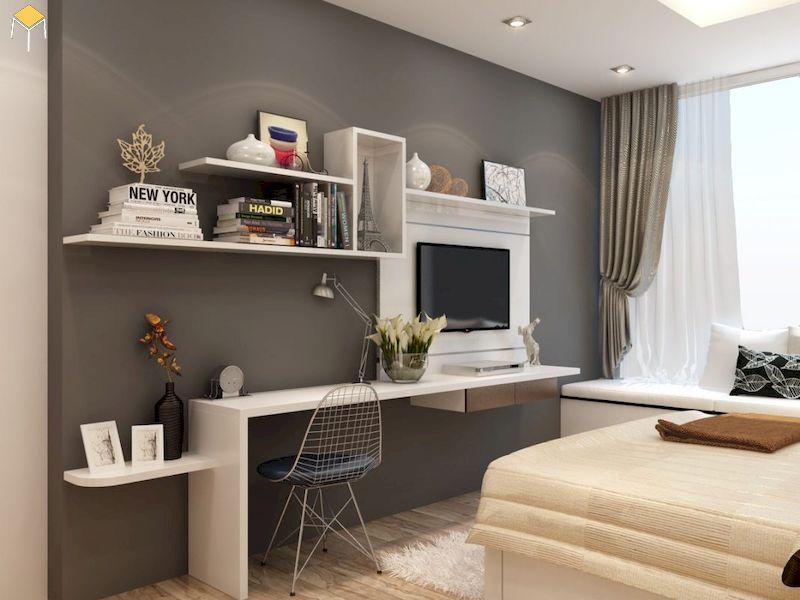 Chọn màu sắc kệ tivi treo tường phòng ngủ