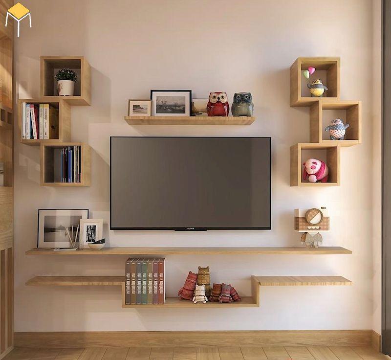 Trang trí kệ tivi treo tường phòng ngủ đẹp, đơn giản