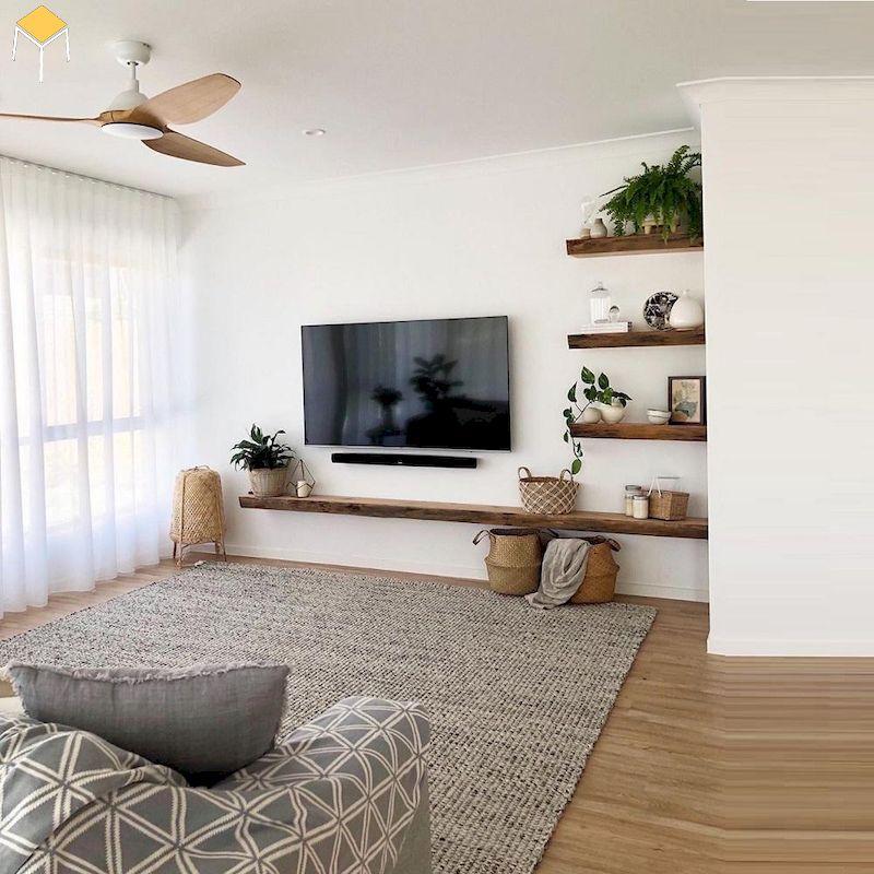 Trang trí kệ tivi treo tường phòng ngủ gỗ tự nhiên