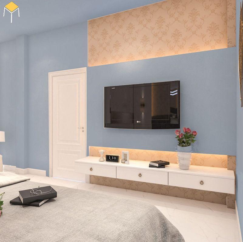 Mẫu kệ tivi treo tường phòng ngủ đẹp, giá rẻ