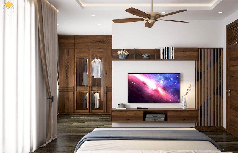 Trang trí kệ tivi gỗ tự nhiên - nội thất phòng ngủ gỗ tự nhiên