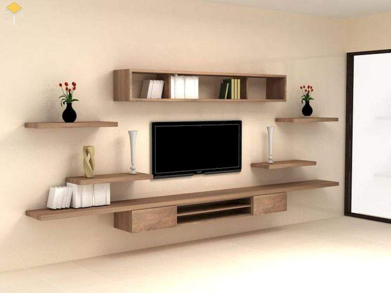 Kệ tivi treo tường phòng ngủ gỗ tự nhiên
