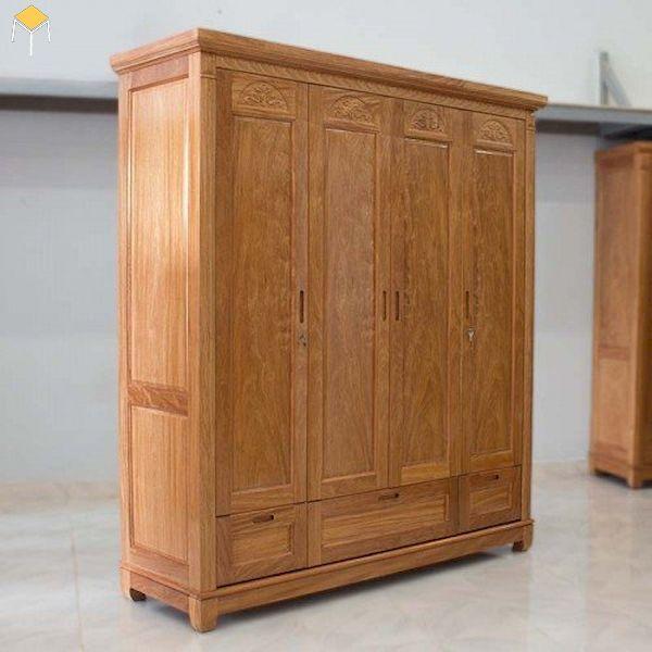 Tủ quần áo 4 cánh gỗ tự nhiên