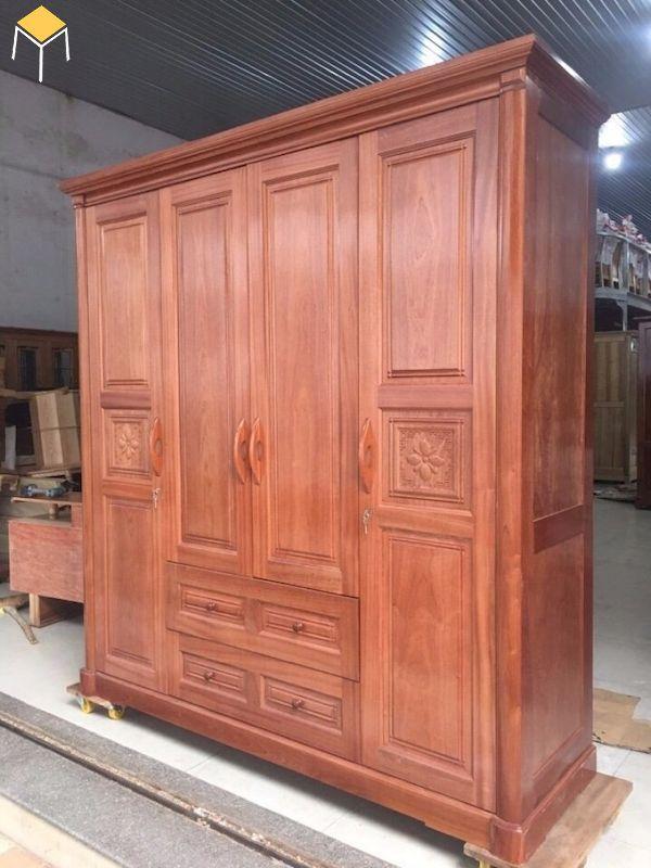 mẫu tủ quần áo gỗ tự nhiên 4 cánh gỗ xoan đào