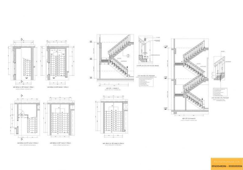 Bản vẽ cầu thang nhà 3 tầng