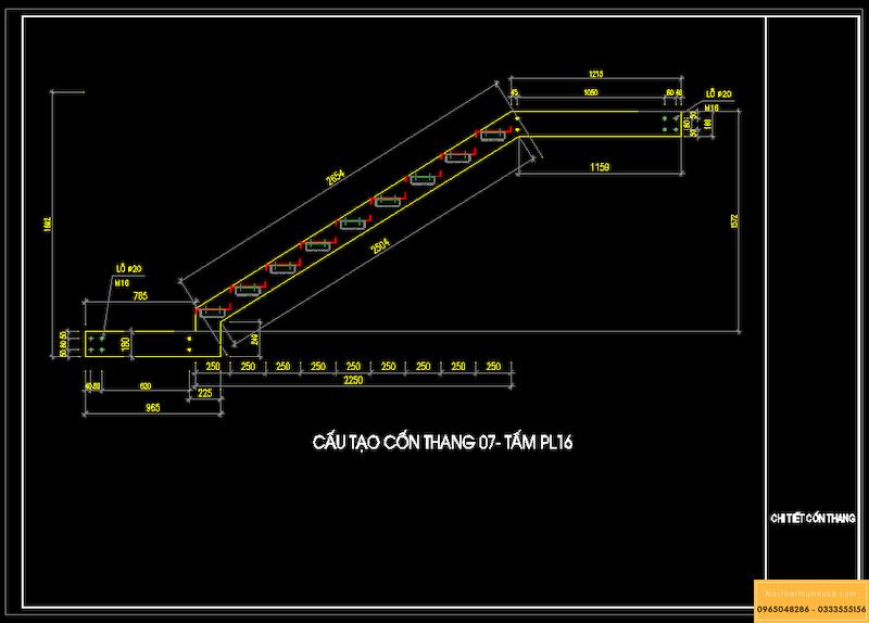 Mẫu bản vẽ cad cầu thang 9 bậc