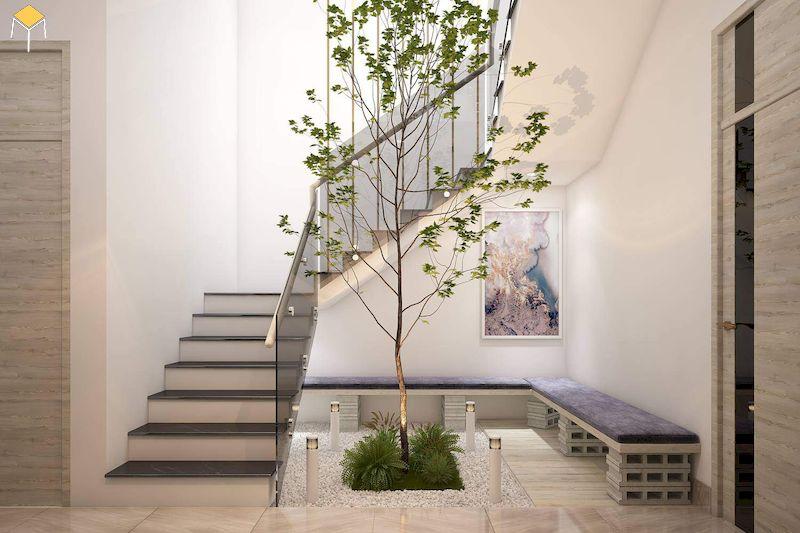 Cầu thang thông tầng để nhận ánh sáng và không khí trong lành