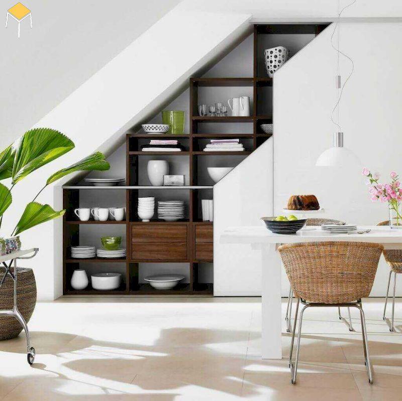 Gầm cầu thang kết hợp kệ phòng bếp