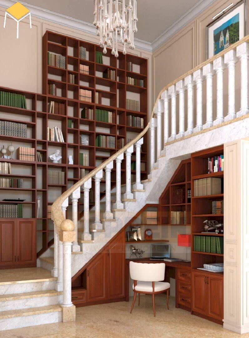 Trang trí cầu thang bằng kệ sách