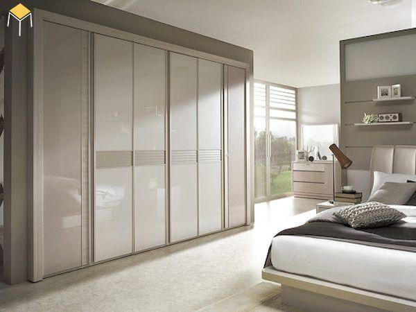 Tủ quần áo âm tường cửa trượt gỗ MDF phủ acrylic tráng gương