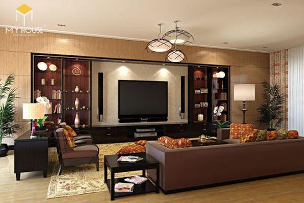 Mẫu tủ âm tường trang trí phòng khách đẹp