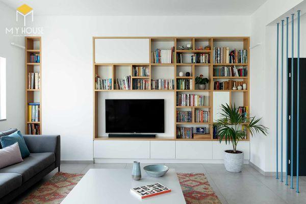 tủ sách âm tường phòng khách