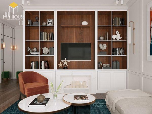 Trang trí tủ sách kệ hợp kệ tivi phòng khách