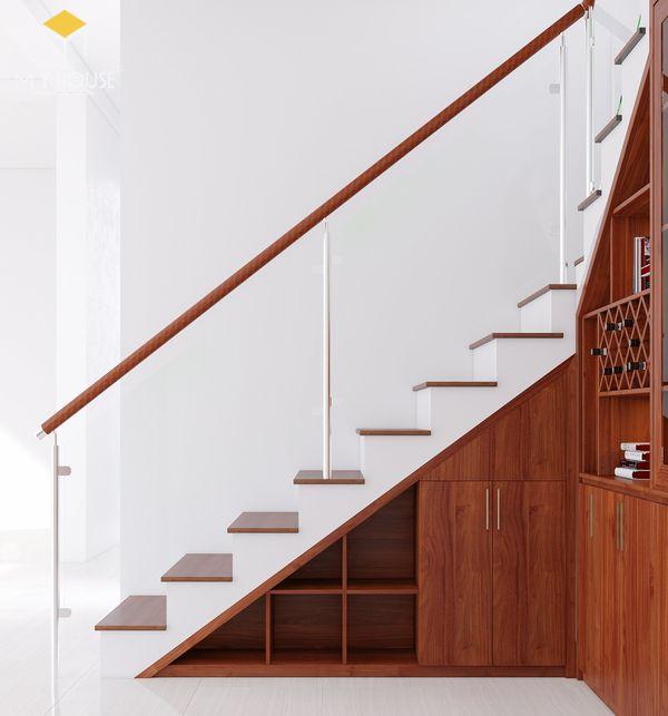 Trang trí tủ âm tường kết hợp gầm cầu thang