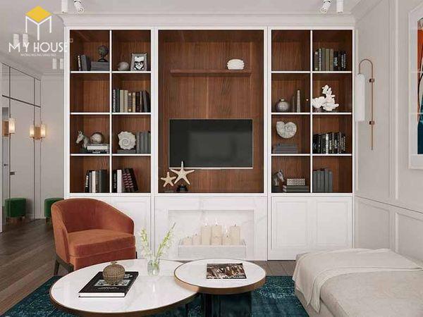Mẫu tủ sách âm tường phòng khách