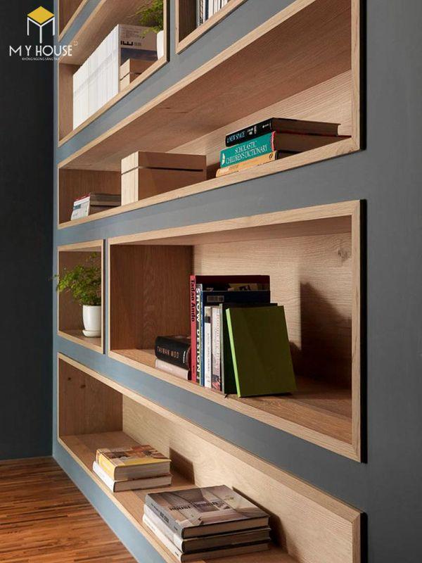 Tủ sách âm tường trang trí phòng khách