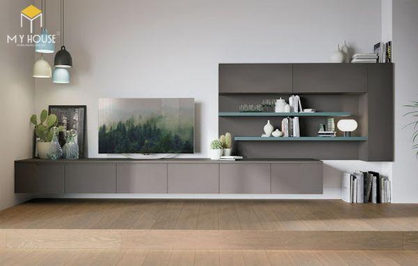 Trang trí phòng khách bằng tủ âm tường hiện đại