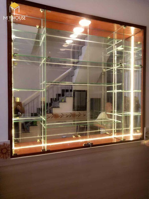 Tủ âm tường trang trí phòng khách bằng kính, nhôm